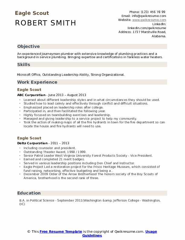 scout resume samples qwikresume template pdf honors and awards on dishwasher skills Resume Eagle Scout Resume Template