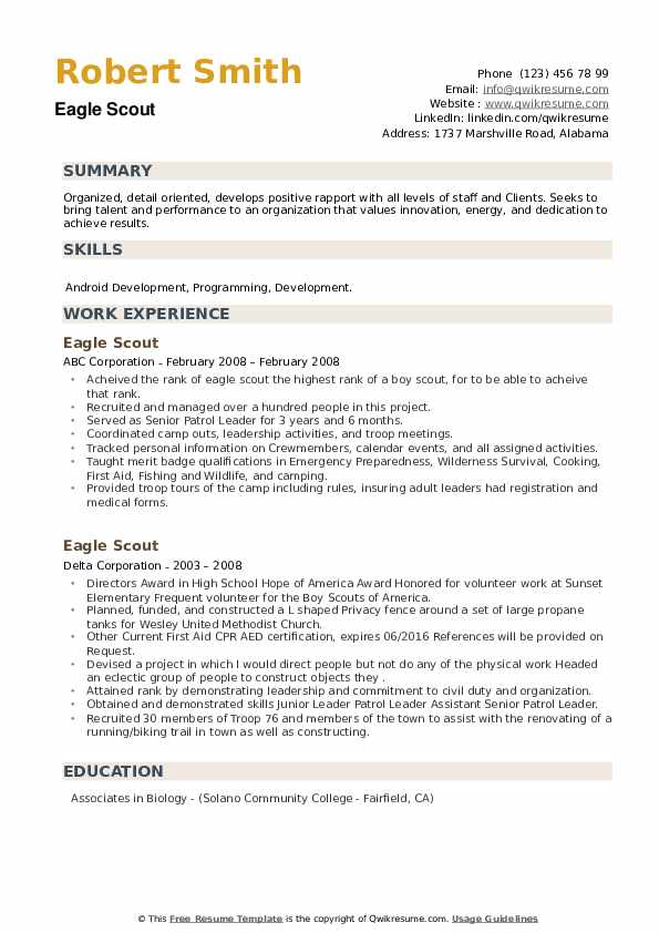 scout resume samples qwikresume template pdf lying on your summary free roofing foreman Resume Eagle Scout Resume Template