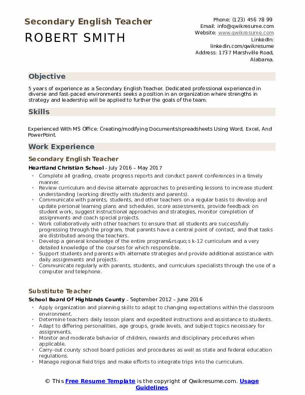 secondary english teacher resume samples qwikresume pdf strengths for examples hobbies Resume Secondary Teacher Resume