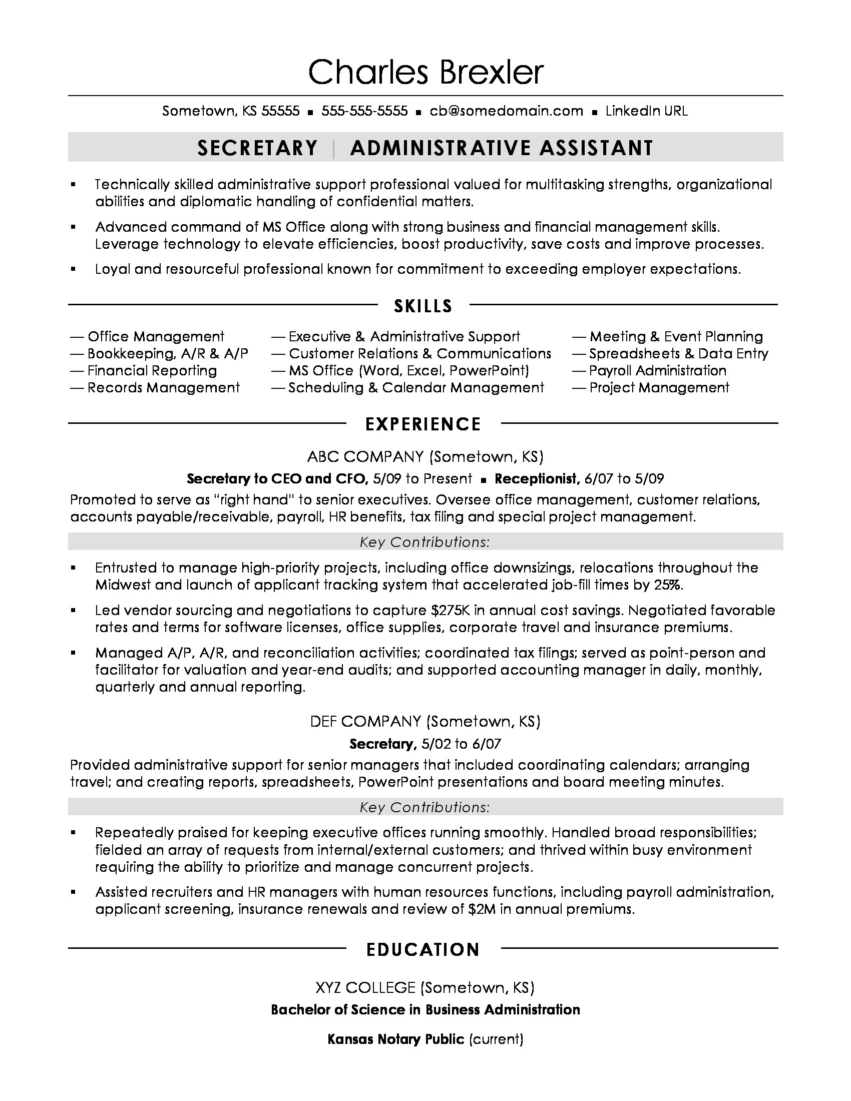 secretary resume sample monster attributes and skills examples photography for summer Resume Resume Attributes And Skills Examples