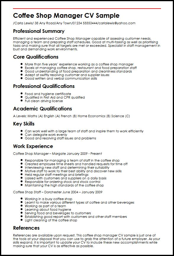 see our shop manager cv example myperfectcv work experience restaurant resume sample Resume Work Experience Restaurant Resume