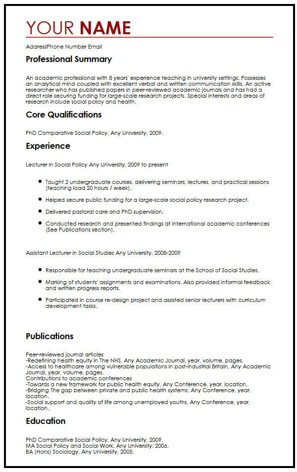 see our top social policy lecturer cv example myperfectcv assistant job description for Resume Assistant Lecturer Job Description For Resume