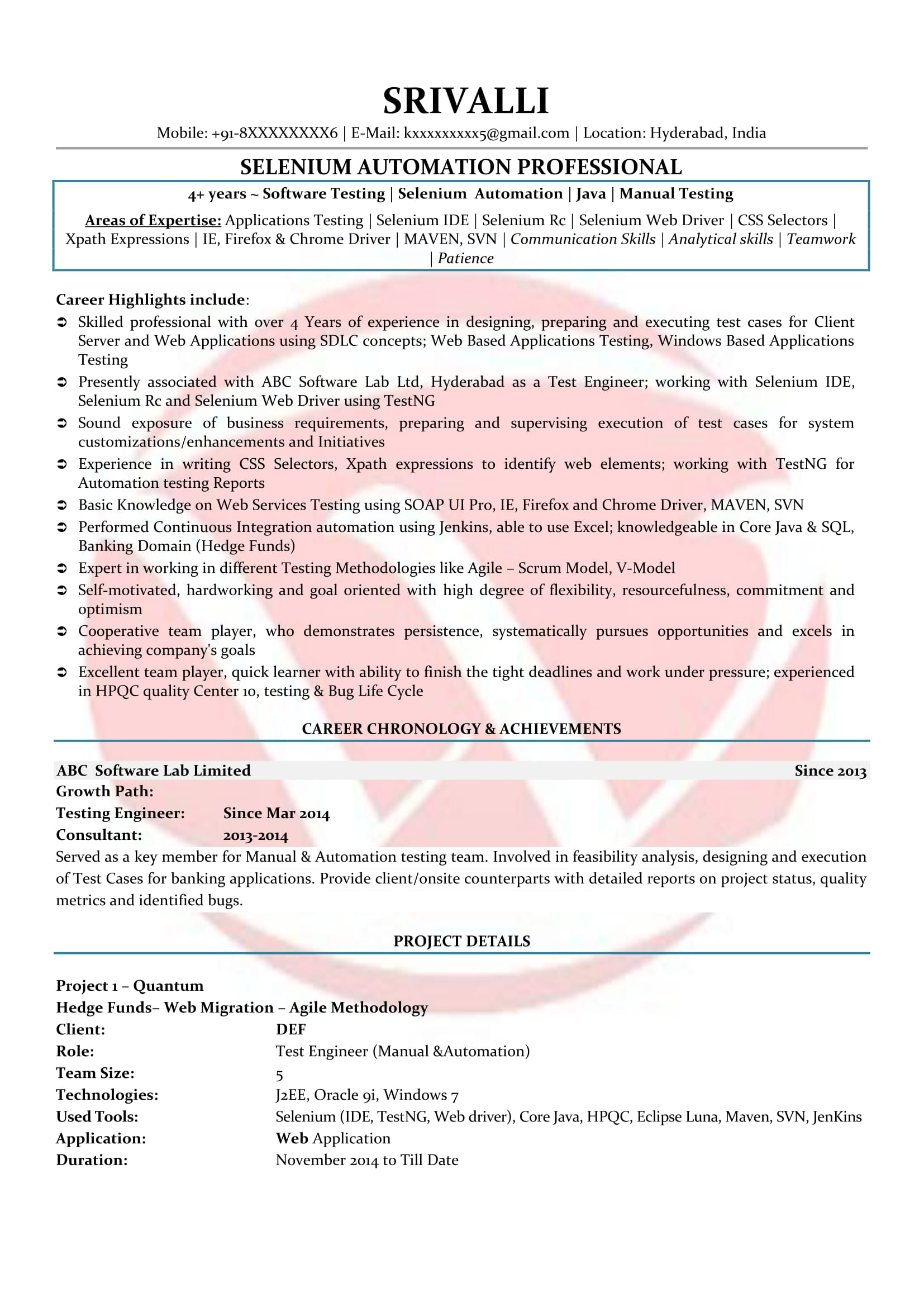 selenium sample resumes resume format templates with cucumber experience oil rig template Resume Resume With Cucumber Experience