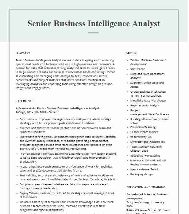 senior business intelligence analyst resume example td ameritrade medical student free Resume Senior Business Intelligence Analyst Resume