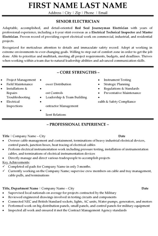 senior electrician resume sample template summary example various formats air force Resume Electrician Resume Summary Example