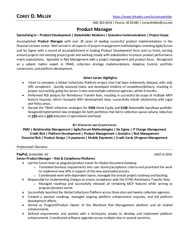 senior product manager financial services in phoenix az resume corey owner thoughts entry Resume Senior Product Owner Resume