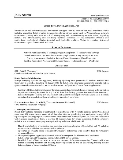 senior system administrator resume sample template professional it manager physical Resume System Administrator Resume Sample