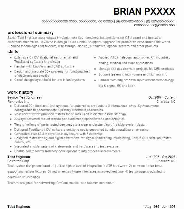 senior test engineer resume example engineering resumes livecareer software professional Resume Software Test Engineer Resume