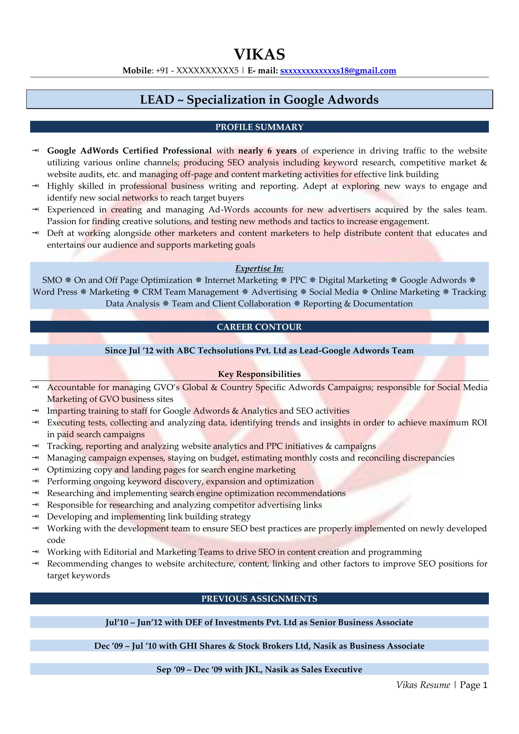 seo sample resumes resume format templates google adwords font size different objectives Resume Google Adwords Sample Resume