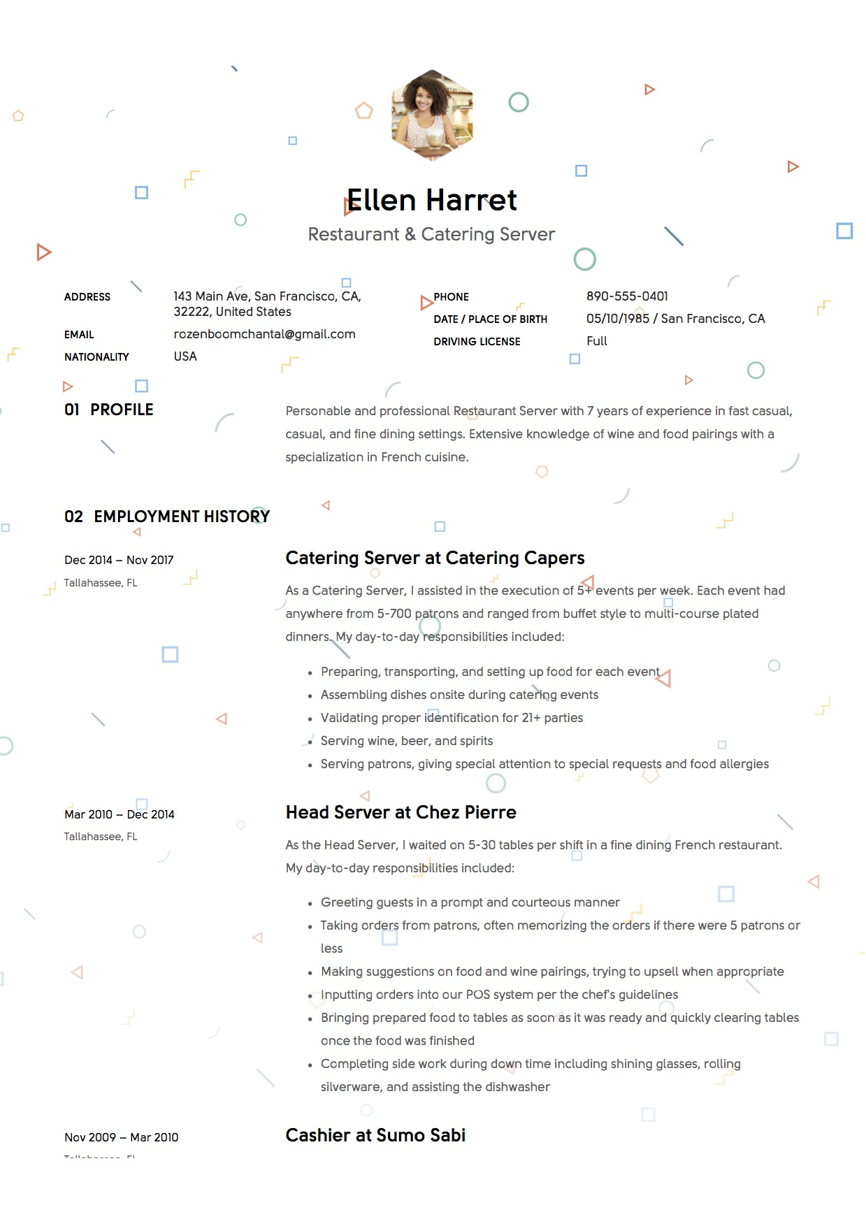 server resume writing guide examples free downloads sample responsibilities ellen harret Resume Sample Server Resume Responsibilities
