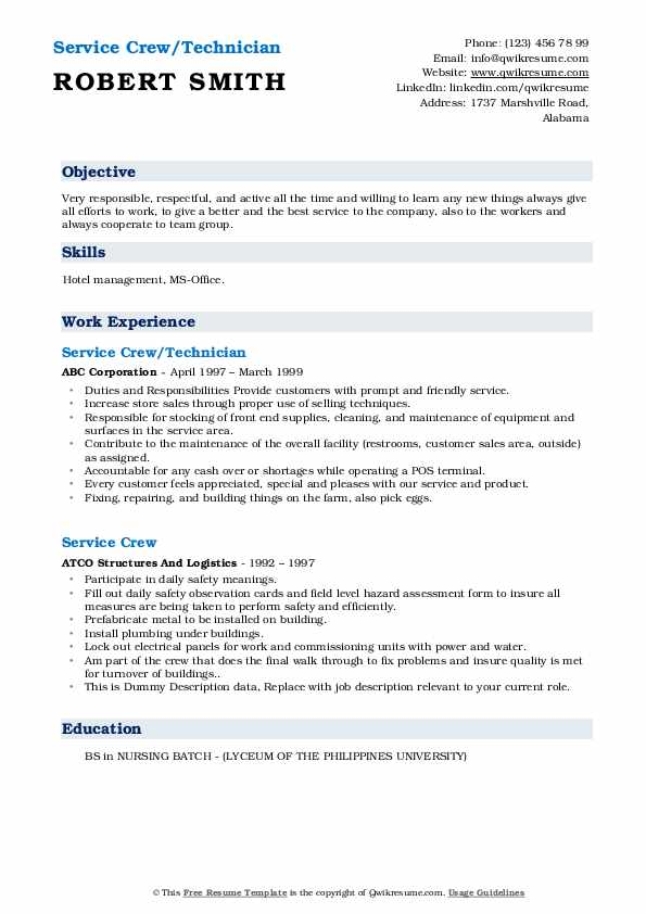 service crew resume samples qwikresume objective examples for pdf financial analyst Resume Resume Objective Examples For Service Crew