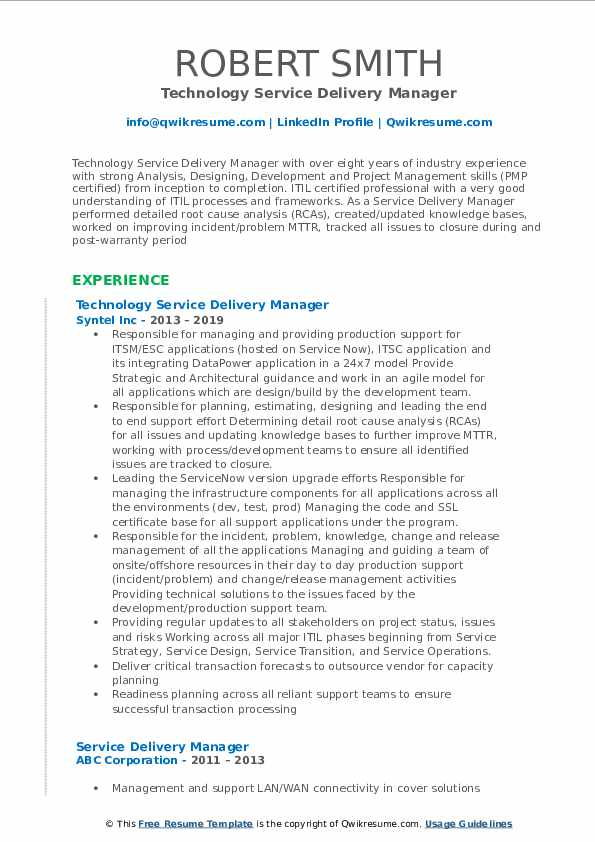 service delivery manager resume samples qwikresume itil certified examples pdf Resume Itil Certified Resume Examples