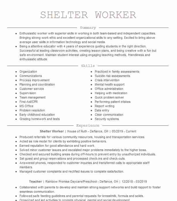 shelter worker resume example south central community action program new wording for Resume Resume Wording For Hiring And Firing