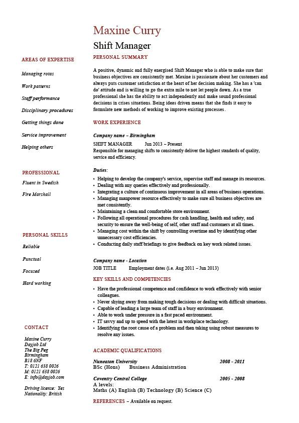 shift manager resume dayjob fast food pic federal sample montessori directress college Resume Fast Food Manager Resume