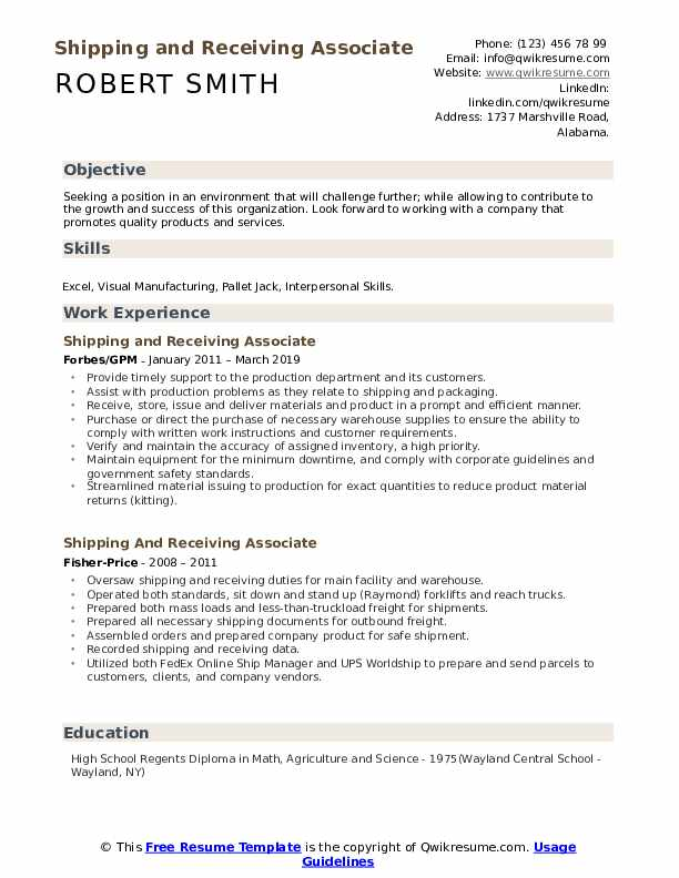 shipping and receiving associate resume samples qwikresume description for pdf words Resume Shipping And Receiving Description For Resume