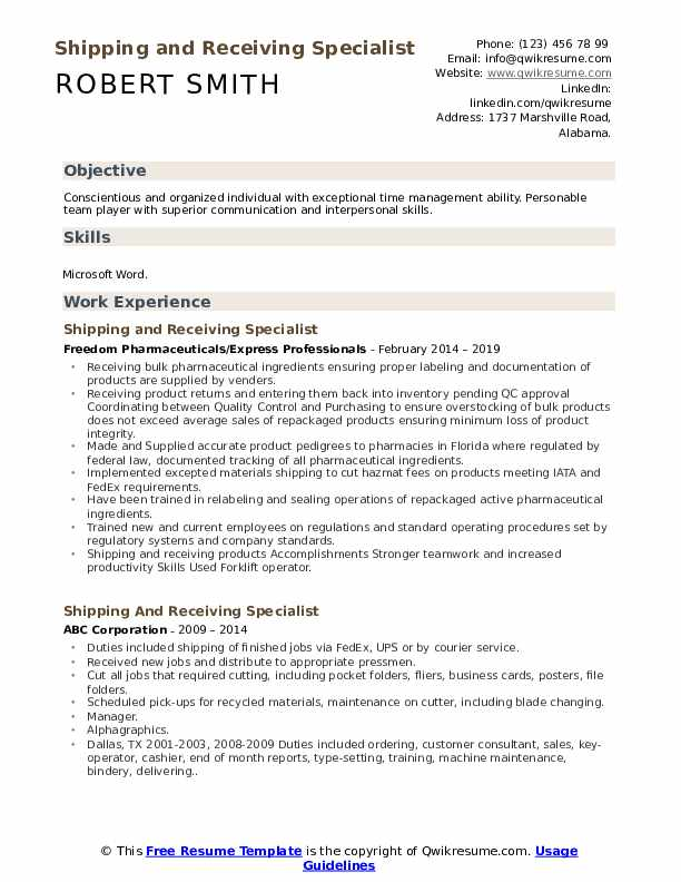shipping and receiving specialist resume samples qwikresume description for pdf talent Resume Shipping And Receiving Description For Resume