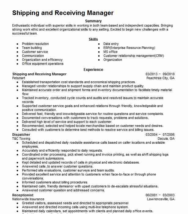 shipping receiving manager resume example nobelus hoffman estates and description for Resume Shipping And Receiving Description For Resume