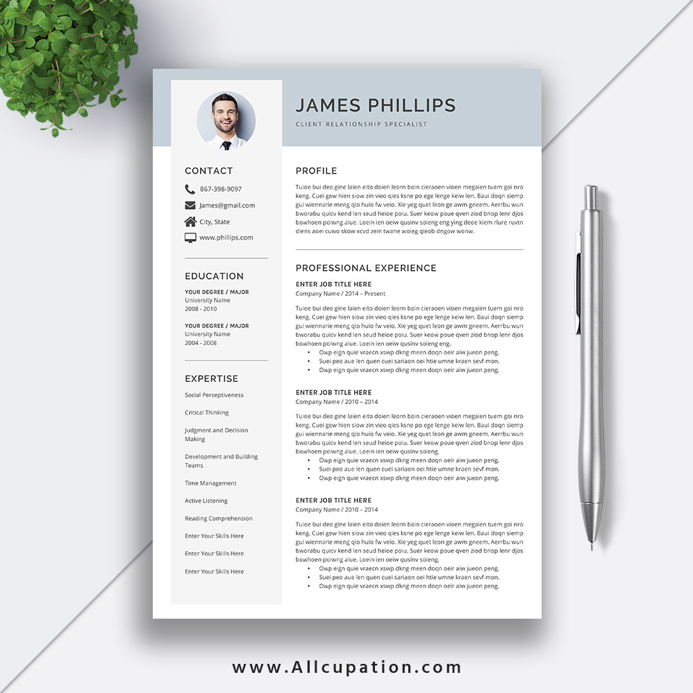 simple professional resume template modern cv word cover letter references instant mac pc Resume Resume Template Word Mac