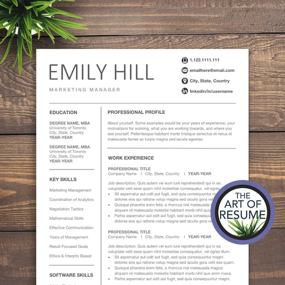 simple resume template for word editable cv etsy free templates il 570xn nr7o lawyer Resume Free Resume Templates 2020 Word