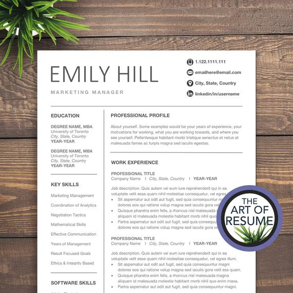 simple resume template for word editable cv etsy free templates with photo il 570xn nr7o Resume Free Resume Templates 2020 With Photo