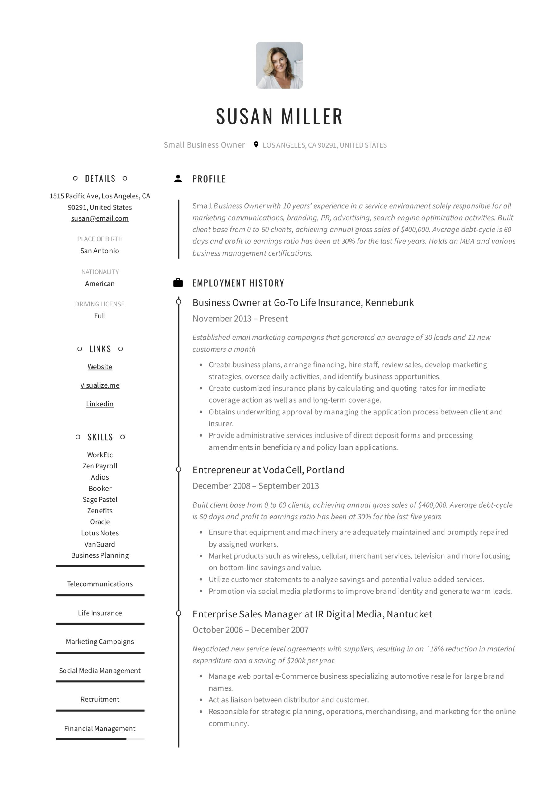 small business owner resume guide examples pdf listing self employment on example optimal Resume Listing Self Employment On Resume