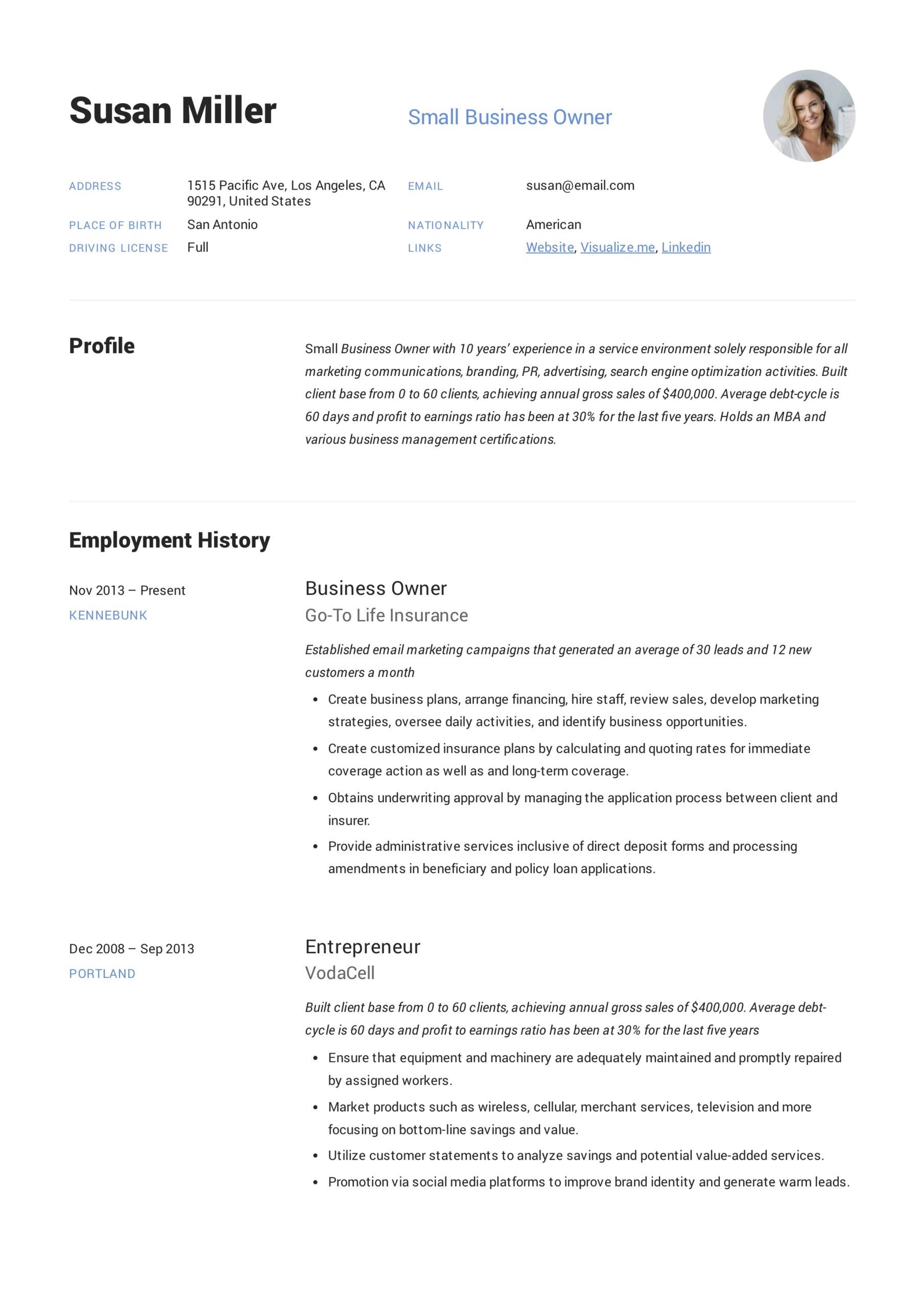 small business owner resume guide examples pdf template example perfect login finance Resume Business Owner Resume Template