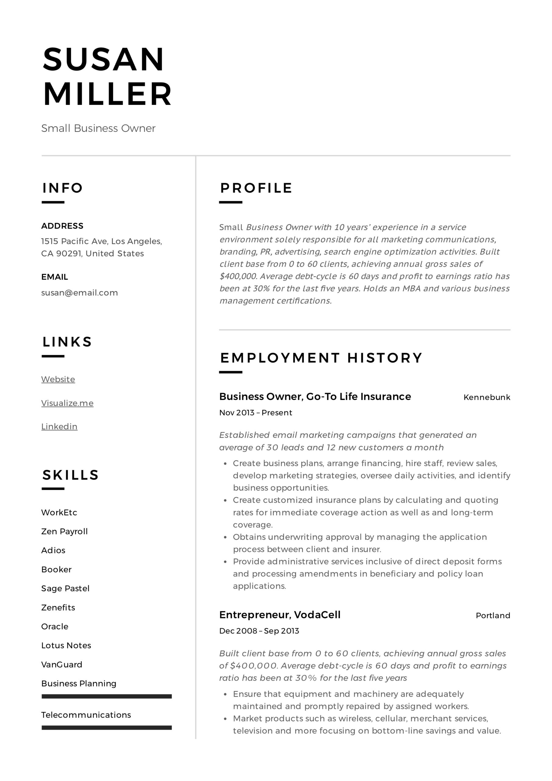 small business owner resume guide examples pdf template example retail assistant sample Resume Business Owner Resume Template