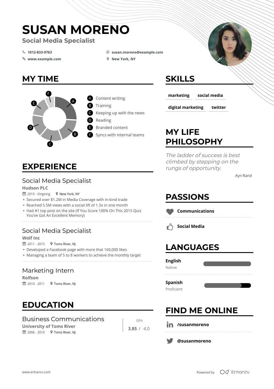 social media specialist resume example for enhancv manager objective lms administrator Resume Social Media Manager Resume Objective