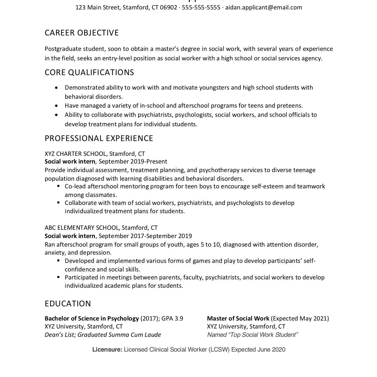 social worker cover letter and resume sample work examples maintenance technician summary Resume Social Work Resume Examples 2020