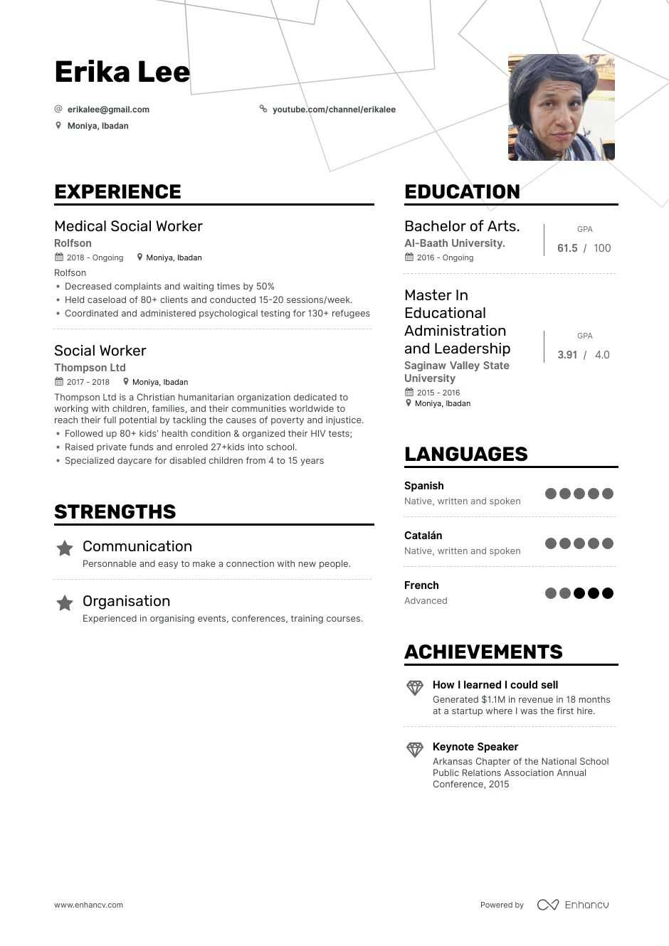 social worker resume example for enhancv work examples best weight paper bachelor student Resume Social Work Resume Examples 2020
