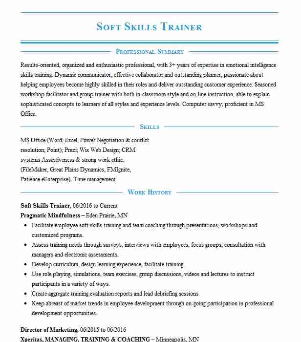 soft skills trainer resume example resumes livecareer for icons dol builder highly Resume Trainer Skills For Resume
