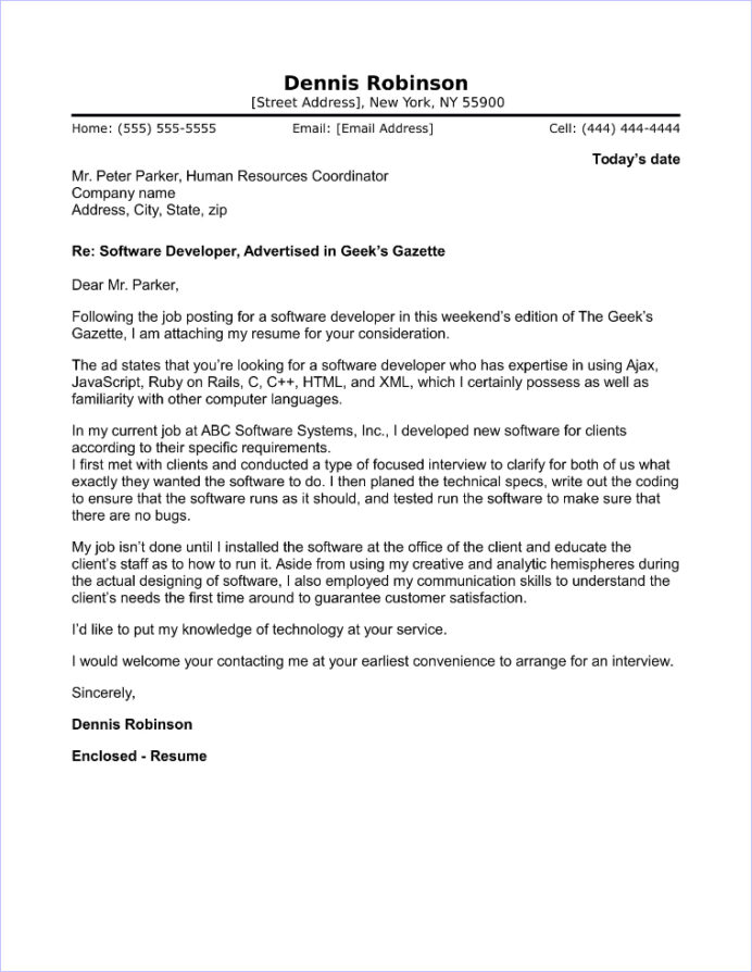 Cover Letter Template Software Engineer Free Resume Templates