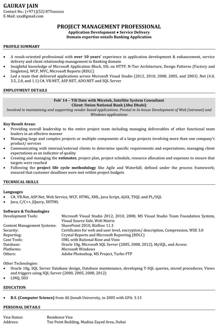 software engineer resume samples sample for naukri with project details application Resume Sample Resume With Project Details