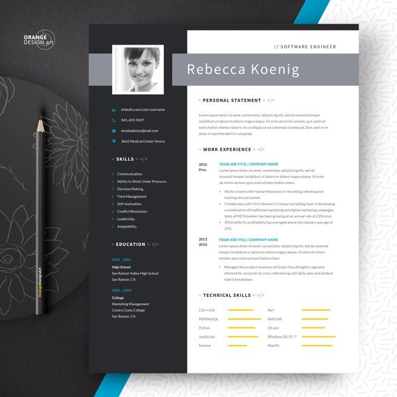 software engineer resume template with photo and cover letter etsy word il 570xn ru26 Resume Software Engineer Resume Template Word
