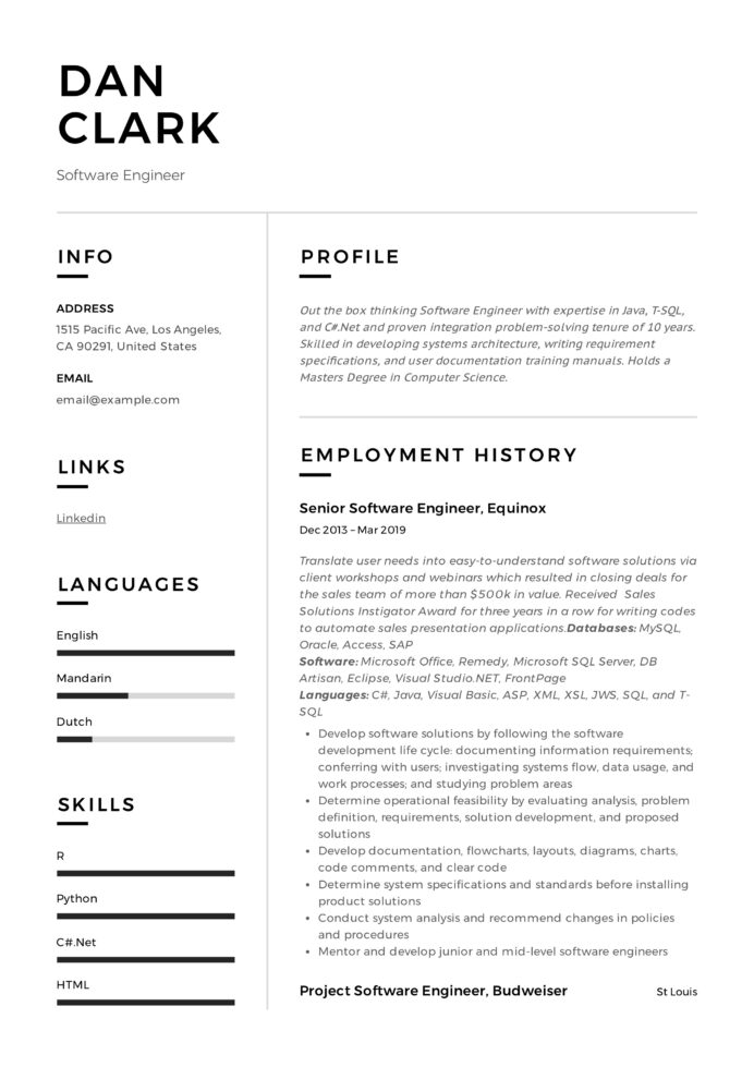 software engineer resume writing guide samples pdf dan mis officer tailoring services Resume Software Engineer Resume