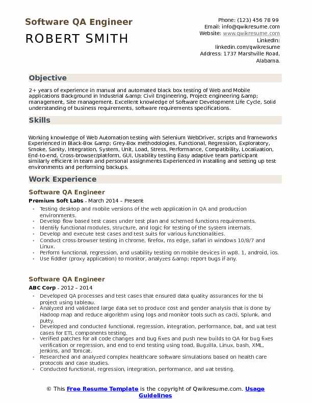 software qa engineer resume samples qwikresume test pdf airs extension letterhead Resume Software Test Engineer Resume