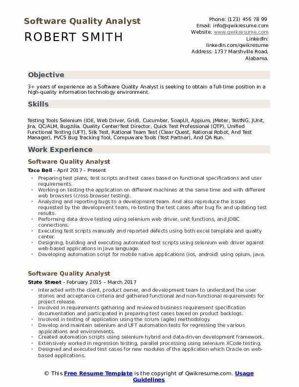 software quality analyst resume samples qwikresume with cucumber experience pdf softball Resume Resume With Cucumber Experience