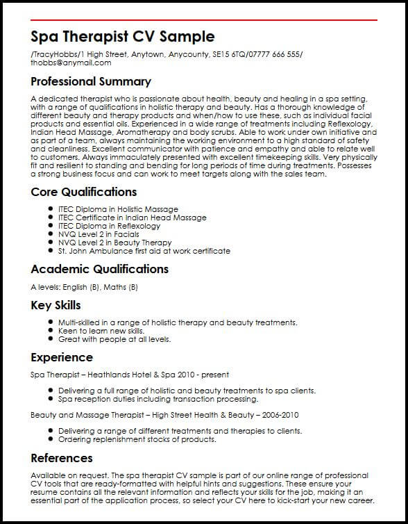 spa therapist cv example myperfectcv massage resume template sample words with the Resume Massage Therapist Resume Template