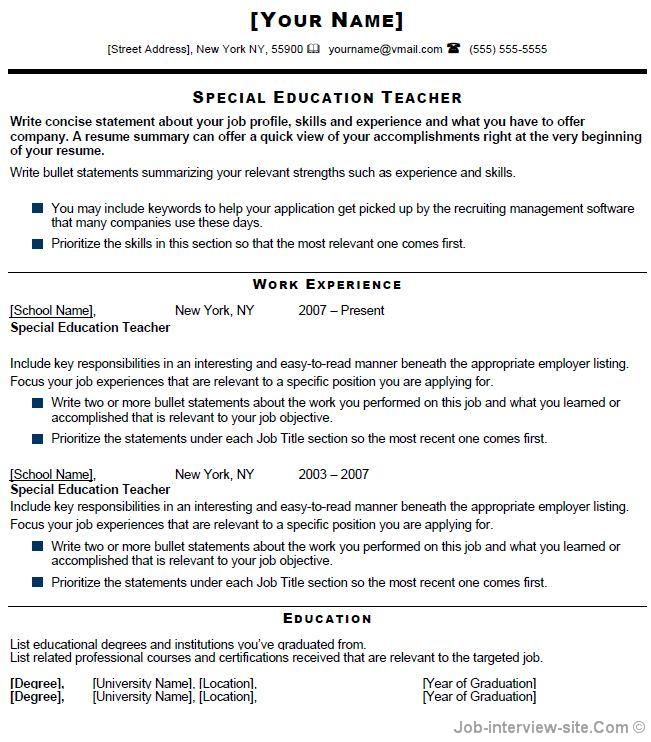 special education teacher resume free templates examples template listing sample for Resume Resume Listing Education
