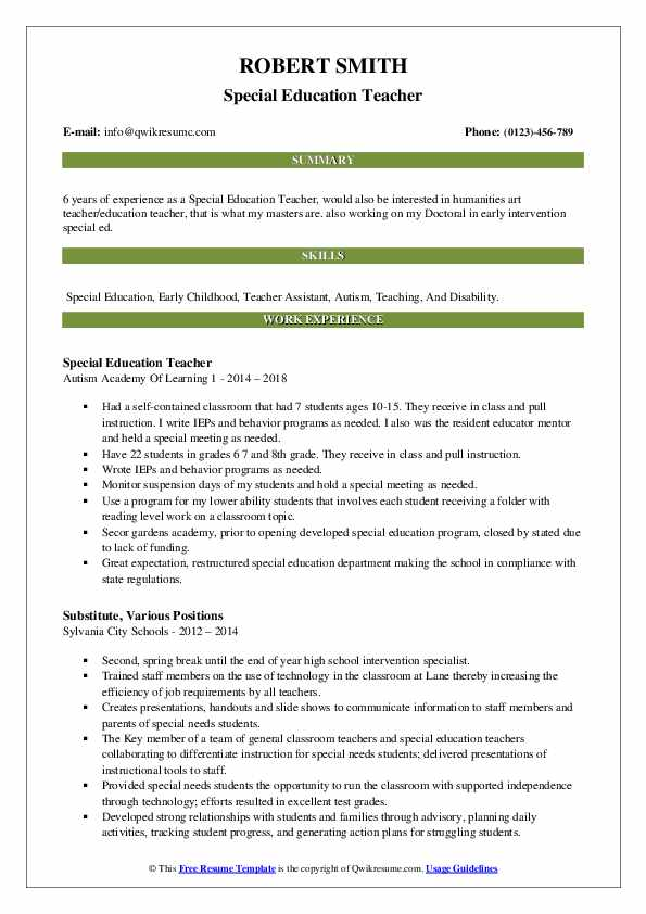 special education teacher resume samples qwikresume pdf architecture examples first Resume Special Education Teacher Resume