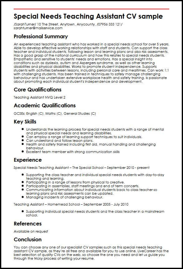 special needs teaching assistant cv example myperfectcv learning resume sample quick Resume Learning Assistant Resume