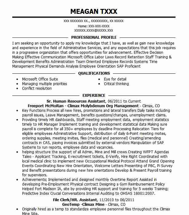 sr human resources assistant resume example fulfillment louisville template software Resume Human Resources Assistant Resume Template