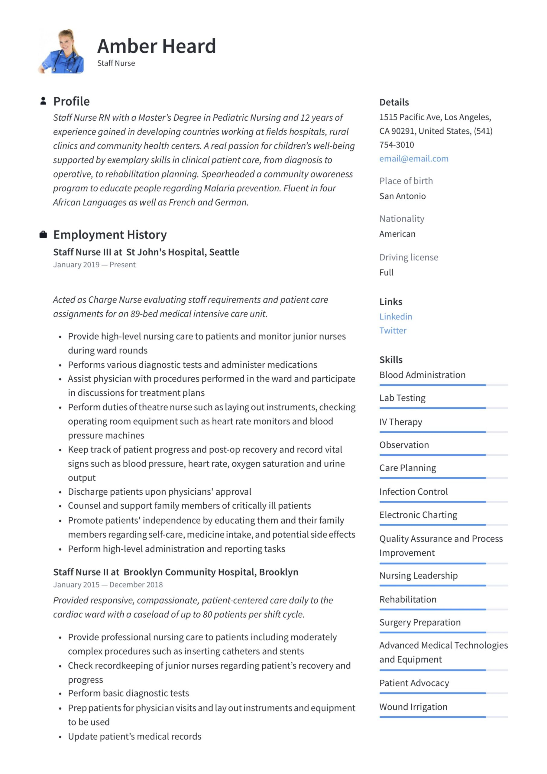 staff nurse resume writing guide templates in pdf sample for nurses with experience Resume Sample Resume For Nurses With Experience