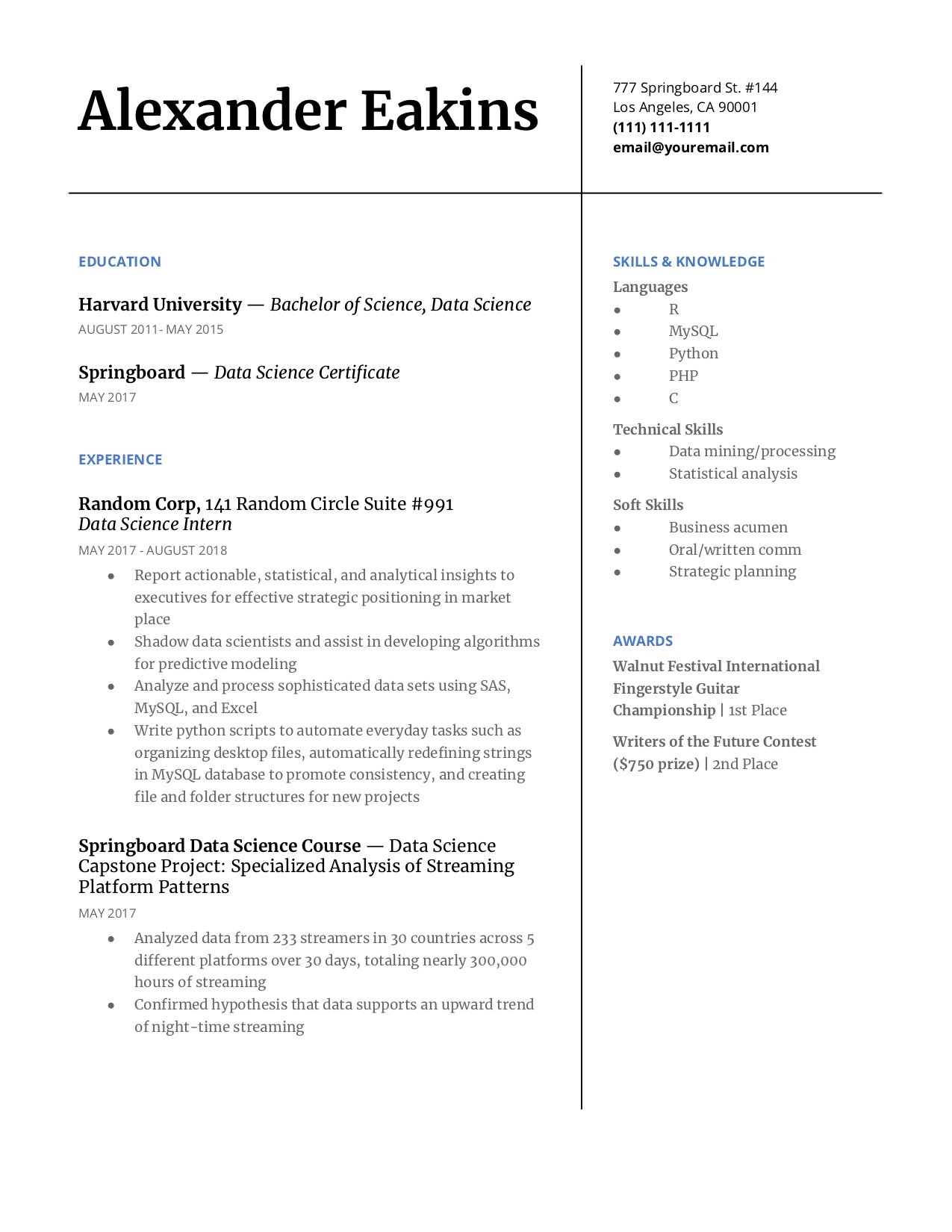 step guide to make your data science resume pop springboard blog including languages on Resume Including Languages On Resume