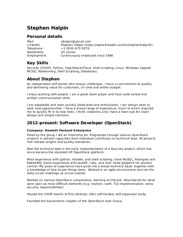 stephen halpin resume openstack experience office word template free administrative Resume Openstack Experience Resume