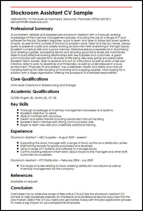 stockroom assistant cv example myperfectcv resume attributes and skills examples sample Resume Resume Attributes And Skills Examples