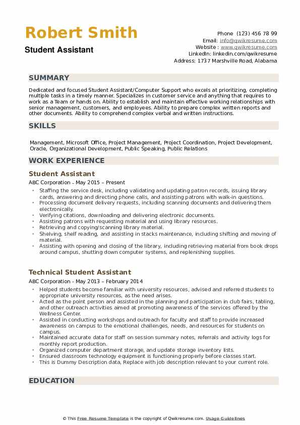 student assistant resume samples qwikresume summary for pdf free reddit completion Resume Resume Summary For A Student