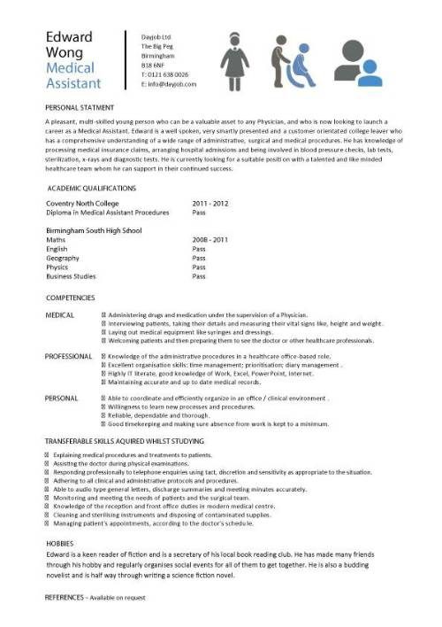 student entry level medical assistant resume template school example pic experience Resume Medical School Resume Example