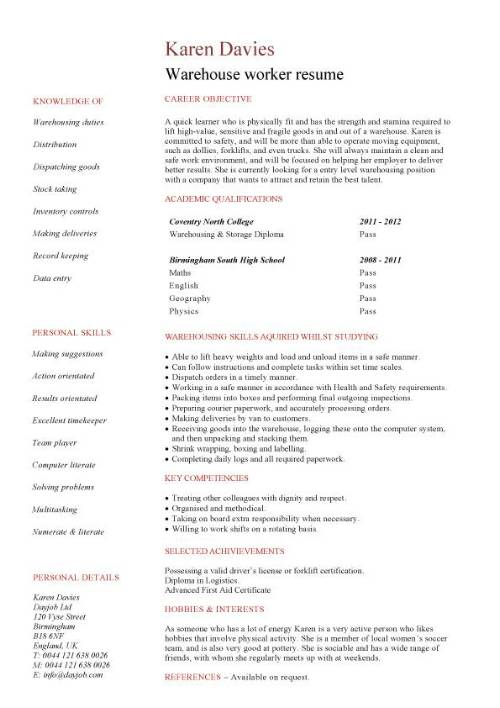 student entry level warehouse worker resume template samples for position pic simple free Resume Resume Samples For Warehouse Position