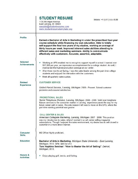 student resume templates easyjob builder for college students sample excel experience Resume Resume Builder For College Students